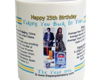 Pre-Made 1992 Birthday Message Mug - Happy 25th Birthday