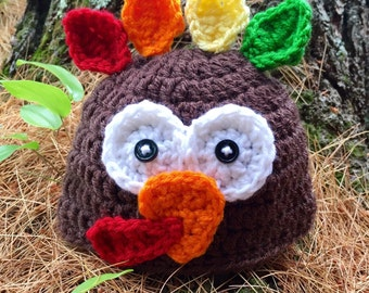 Crochet turkey hat/ baby turkey hat/ Thanksgiving baby hat in infant and toddler sizes