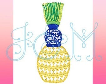 Ginger Jar Tassel Pineapple Embroidery Design Monogram Motif