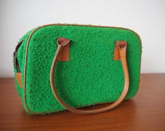 Casentino Italian handbag green fur 60s or 70s style
