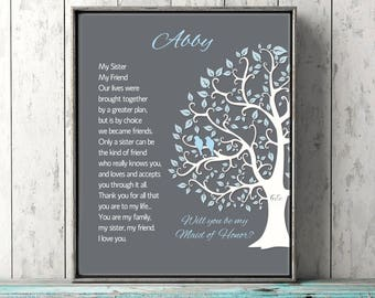 Personalized Gift Sister Maid of Honor Proposal Wedding Gift Will You Be My Maid of Honor Blue Gray or Custom Bridesmaid Proposal