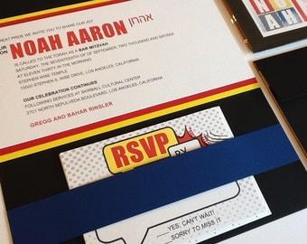 Comic Theme Bar Mitzvah Invitation