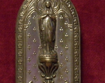 French Antique standing home altar shrine of our holy mother Mary of Lourdes