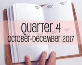 Traveler's Notebook PERSONAL Size Week on Two Pages in VERTICAL Layout {Q4 | October-December 2017} #700-34