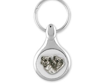 Bulldog Key Ring Jewelry Sterling Silver Handmade Dog Key Ring BD11-KE