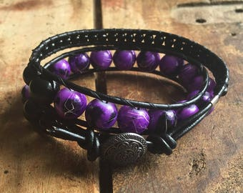 Purple and Black Glass leather Wrap
