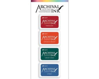 Mini Archival Ink Pad Kit 1 VERMILLION, MONaRCH ORANGE, Library GReeN, COBALT Blue AIMK57673 1.cc55