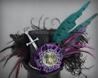 Jabberwocky Mini Top Hat, Dragon Mini Top Hat, Alice in Wonderland Hat, Black Mini Top Hat, Women Mini Top Hat, Women Jabberwocky Fascinator