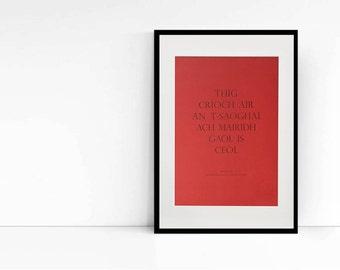 Letterpress Wall Art - Gaelic Art Print - Scottish Gaelic Proverb - Red
