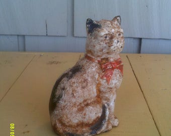 Vintage Cast Iron Cat Still Bank, Cast Iron Coin Bank