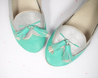 SALE !! READY to SHIP - 15% off -- Size 40 -- Mint and Silver Tassel Brogue Loafers Flat Shoes