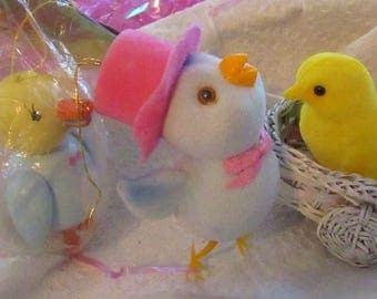 Vintage Easter Decorations, Flocked, Wood and Wicker