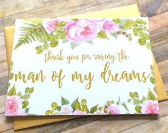 Thank you for raising the Man of my Dreams Wedding Card - Peony Mother and Father in law Card - Wedding Day - Card for in laws - GRACEFUL