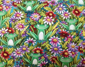 Grinning Frogs and Flowers 100% Cotton Fabric