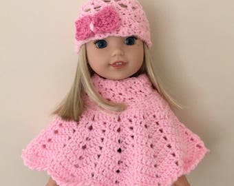 """Doll hat and poncho set for 14.5"""" doll such as American Girl Wellie Wishers. Pink, with pink bow on hat!"""