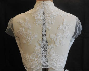 ivory bridal wedding lace floral bolero cover up / ivory bridal lace shrug coat / ivory bridal shoulder lace cover is for sale. Bust:36in