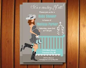 Cowboy Baby Shower Invitations - Country Western Baby Boy Invite - Printable Digital