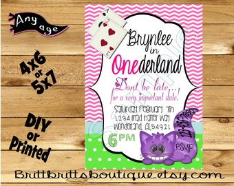 Onederland Invitation first Birthday party Invitations Custom Birthday invite 4x6 or 5x7 Digital OR Printed with envelopes
