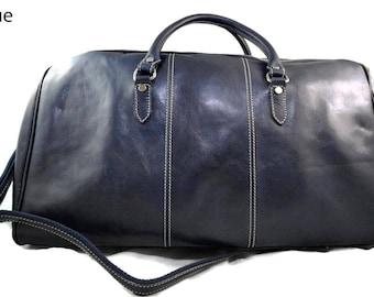 Duffle bag genuine leather shoulder bag blue mens ladies travel bag gym bag luggage made in Italy woman weekender duffle overnight carryon