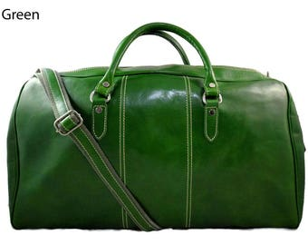 Duffle bag genuine leather shoulder bag green mens ladies travel bag gym bag luggage made in Italy woman weekender duffle overnight carryon