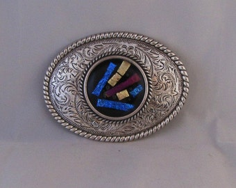 Large Metal Belt Buckle, Scroll Work Design with Dichoric Fused Glass Cabochon