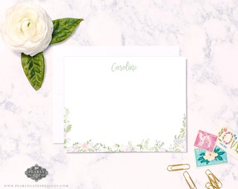 Floral Stationery, Floral Notecards, Personalized Stationery, Personalized Gift, Girl Stationery,  Set of 25