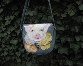 Blue/ light blue, leather, hand Painted, Purse/handbag, Pig with Yellow Flowers
