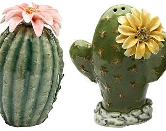 Pair of Cactus Flowers Salt and Pepper Shakers