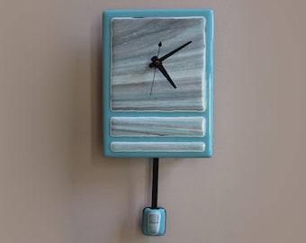 Fused Glass Pendulum Wall Clock - Turquoise Skies