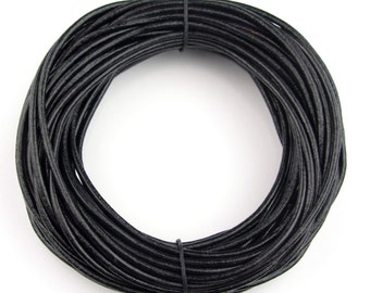 Black Round Leather Cord 2mm, 10 Feet