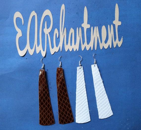 Small Leather strip - Dangle Earring - Drop earring - Variety Sample Pack - 2 Pair leather strip earrings _ jANE
