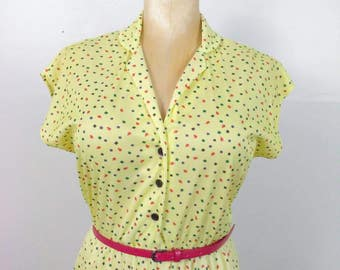 ATOMIC PLEATS Vintage Yellow Rockabilly Pinup Girl Dress Size Medium