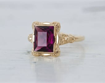 SALE Antique Amethyst Ring | 1930s Art Deco Ring | 10k Yellow Gold Ring | Dainty Promise Ring | Vintage Gemstone Ring | Flower Ring | Size 6