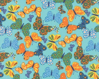 OOAK #1409 - 18 x 44 - On the Wing Butterflies Robins Egg Blue Fabric - 35262 13