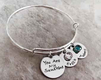 You are my sunshine personalized bangle bracelet with children's names and swarovski birthstones custom bracelet for mom jewelry kids names