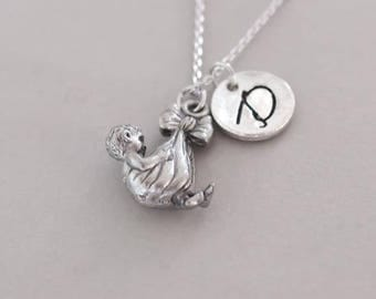Baby necklace. silver charm necklace.  friendship jewelry. personalized Initial necklace. custom letter.monogram necklace.silver necklace
