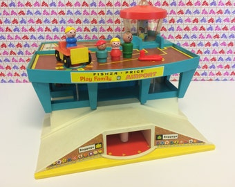Vintage Fisher Price Play Family Airport 1972 Little People Toys