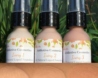 NEW FORMULA and Colors! IVORY 1-3- All Natural Liquid Foundation- Vegan Friendly, Cruelty Free