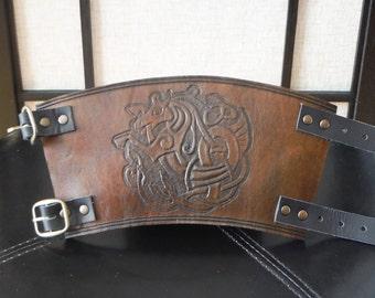 Medieval Knight Viking Armor Celtic Horse Design Leather SINGLE Cuff Bracer