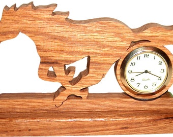 Running Horse Desk Clock, Wood Clock, Home Decor, Decorative Clock, Horse Decor, Unique Clock, Keepsake Gift, Rustic, Gift Idea, Whimsical