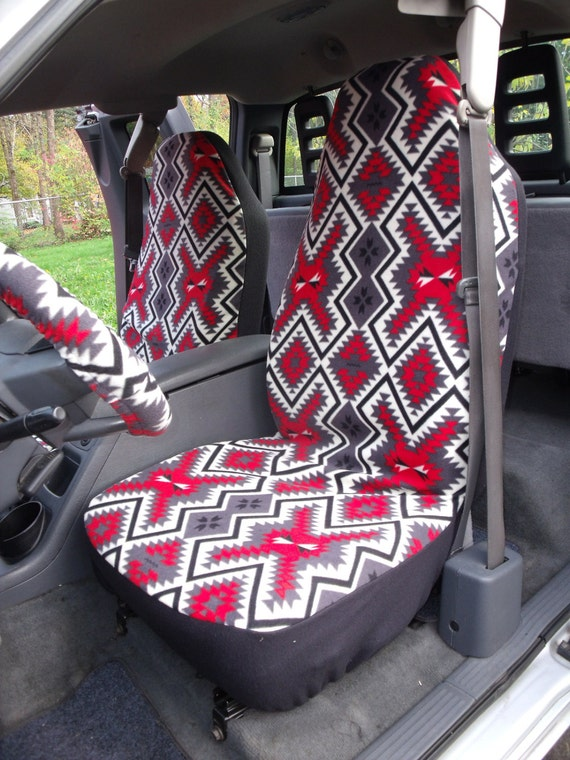 A Set of Southwest Red Grey Print. Seat Covers and Steering Wheel Cover Custom Made.