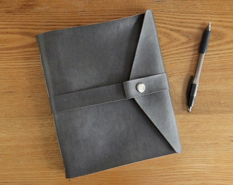 Handsewn Vegan Leather Journal with Blank Paper in Dark Gray