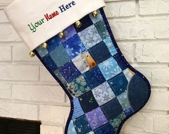 Quilted Christmas Stocking, Blue and White Patchwork, Flannel Cuff with Jingle Bells, Large, Fully Lined,  Free Personalization