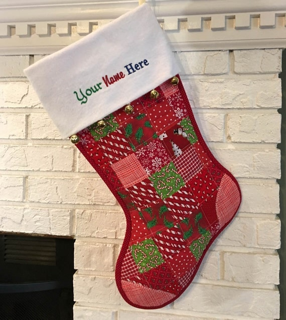 Red Quilted Christmas Stocking Red & White Cottton Patchwork