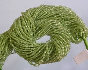 Pack of 10 strand AAA quality Natural Peridot micro faceted rondelle beads size 2mm GW2446