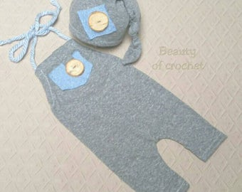 Newborn boy props romper and hat set newborn romper outfit gray blue neutral newborn  photography prop ready to ship!