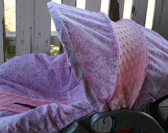 baby pink with white flowers / daisys and baby pink minky infant car seat cover and hood cover
