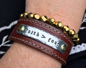 faith > fear leather cuff bracelet - custom stamped word bracelet -  faith is greater than fear - inspirational jewelry - encouragement gift