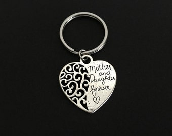 Mom Daughter Key Chain. Mother and Daughter Forever Key Chain. Heart Key Chain. Family Key Chain. Mother's Day Gift. Stocking Stuffer Ideas.