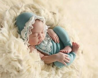 BELLAMY Newborn Romper Matching Bonnet Set/ Photography/ Photo Prop/Baby Girl/ Robins Egg